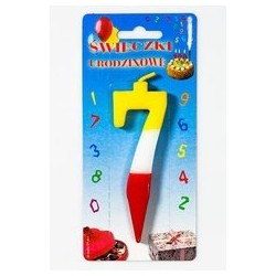 Świeczka tęczowa cyfra 7 -...